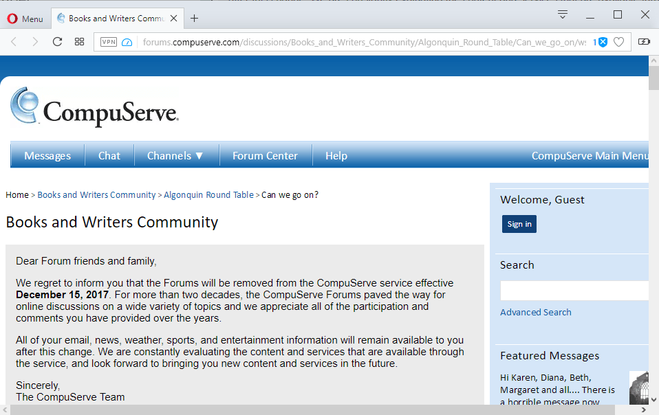 compuserve forums shutting down