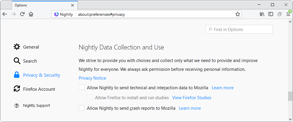 firefox 58 data collecting