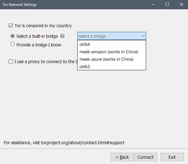 tor browser network settings