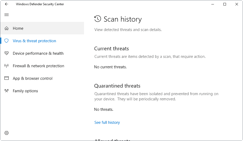 windows defender threat protection