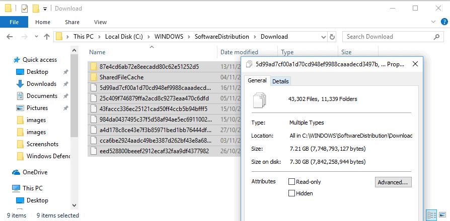 windows delete cached updates