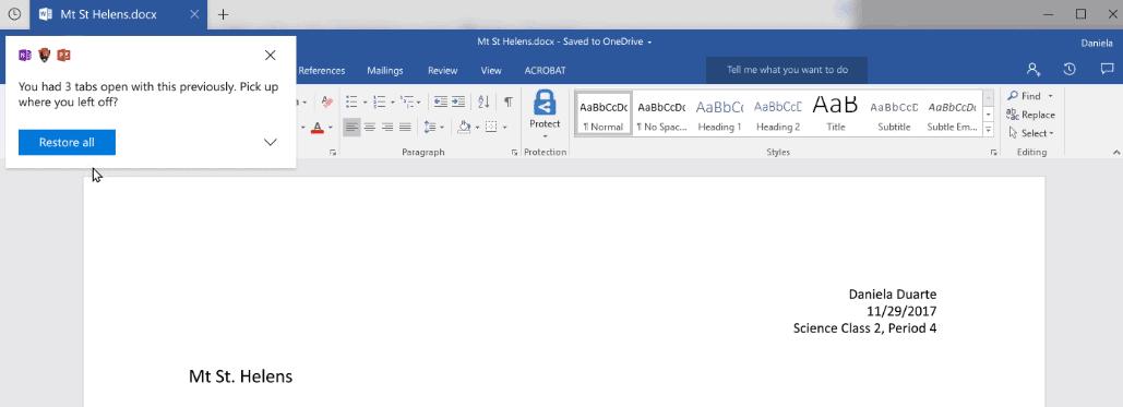 windows sets previous programs