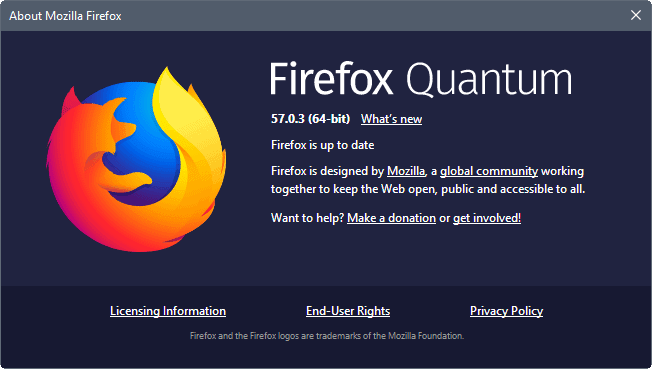 Firefox 57.0.3 bug fix release