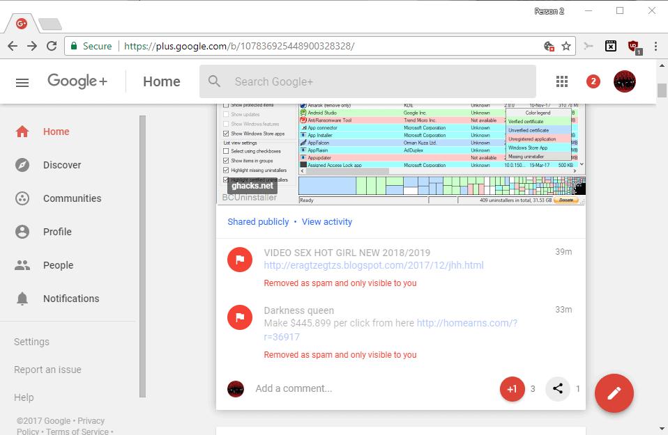 google plus spam