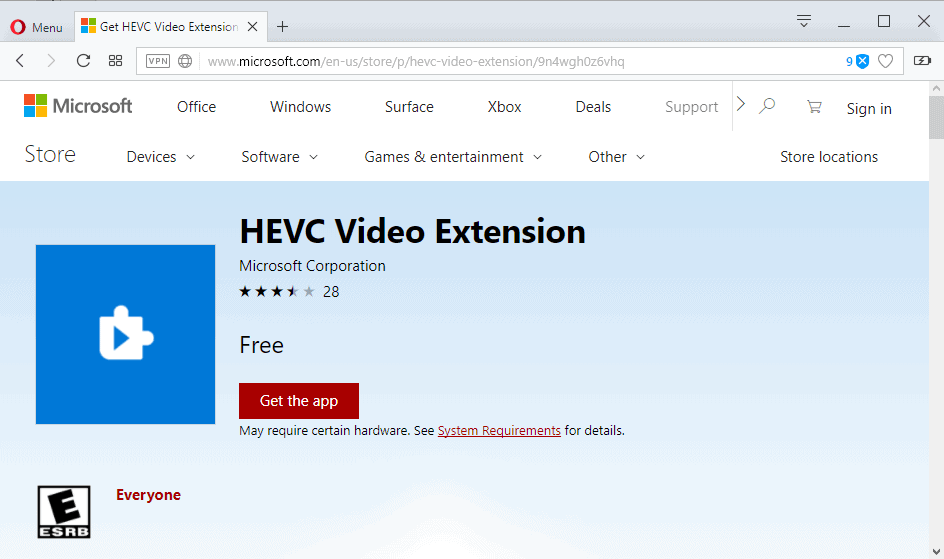 hevc video extension