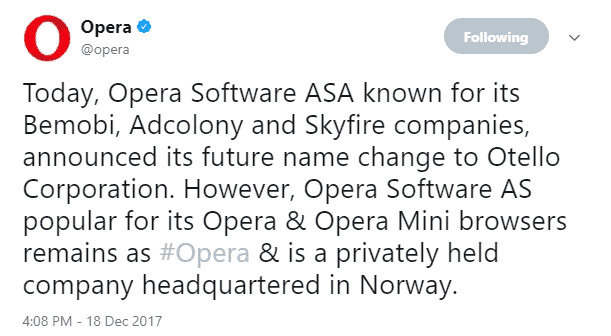 opera software name otello corporation