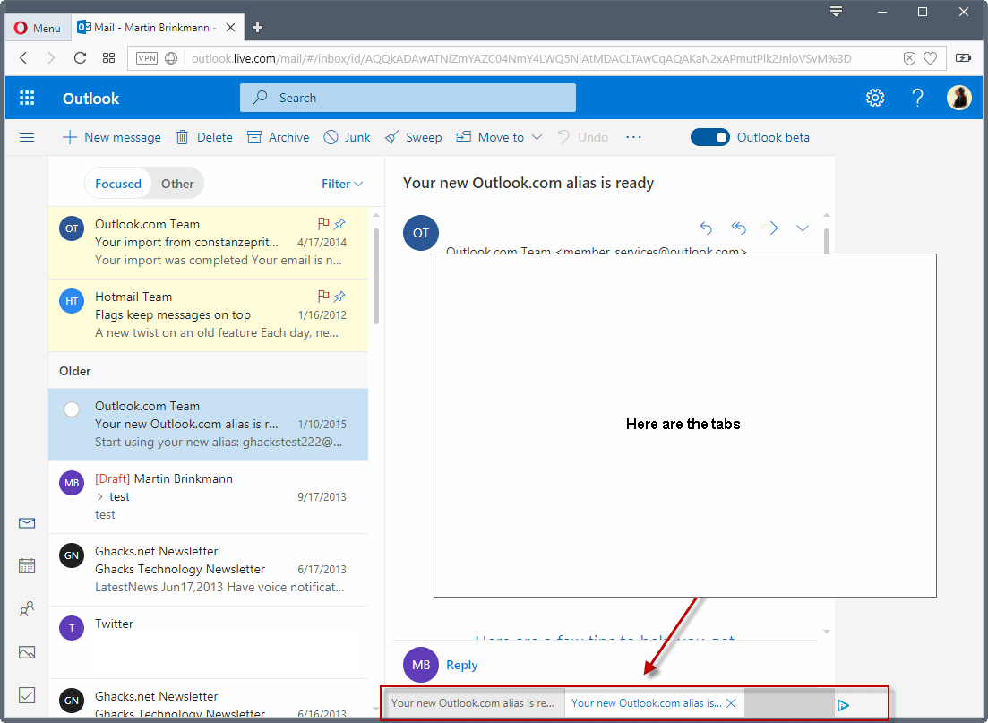 Outlook.com Beta with tabs, improved search, and more