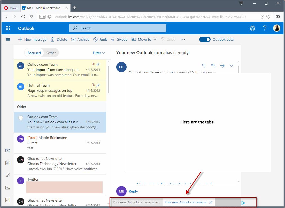 outlook.com tabs