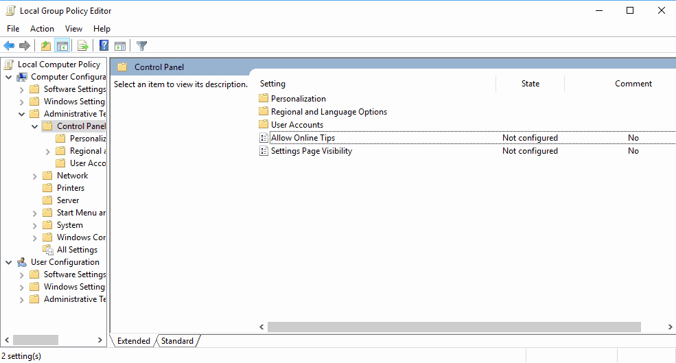 allow online tips settings group policy