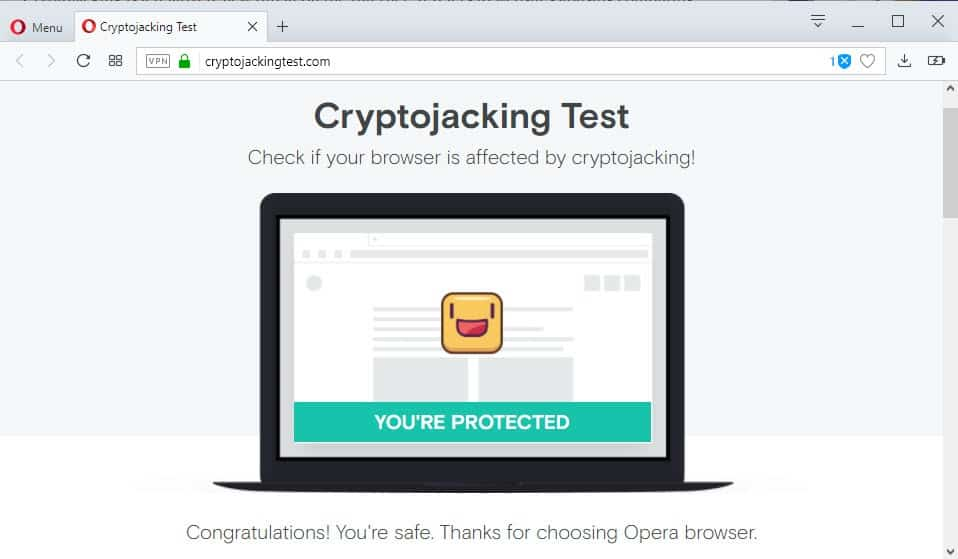 Test your web browser's cryptojacking protection