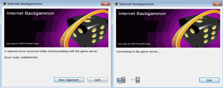 internet games windows 7 error 0x80041004
