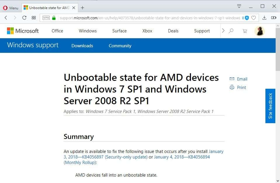 Microsoft releases AMD-specific Windows 7 and 8.1 updates to fix unbootable state issue