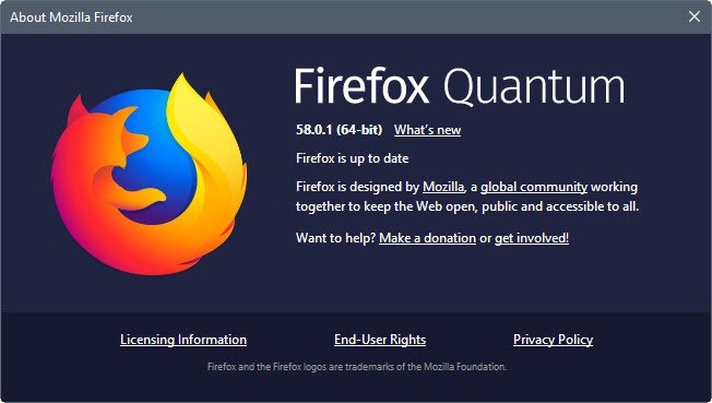 Mozilla Firefox 58.0.1: fix for Windows page-load issue