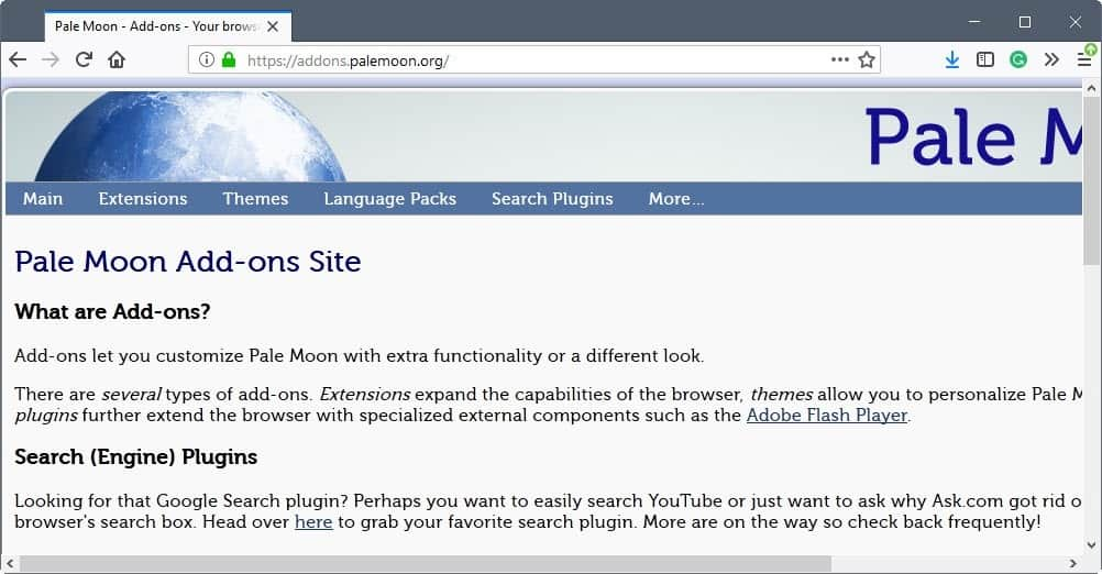 pale moon addons site