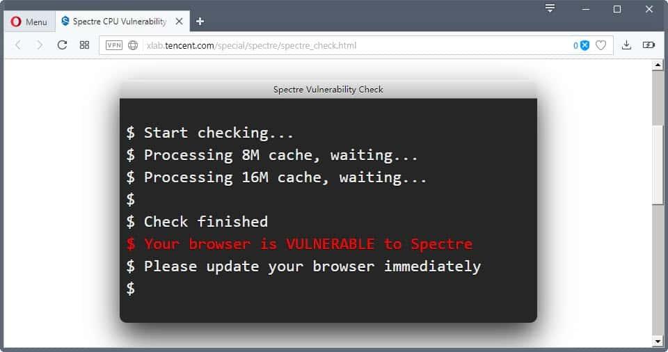 spectre vulnerability check
