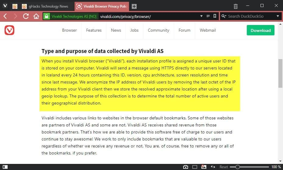 Vivaldi browser and privacy