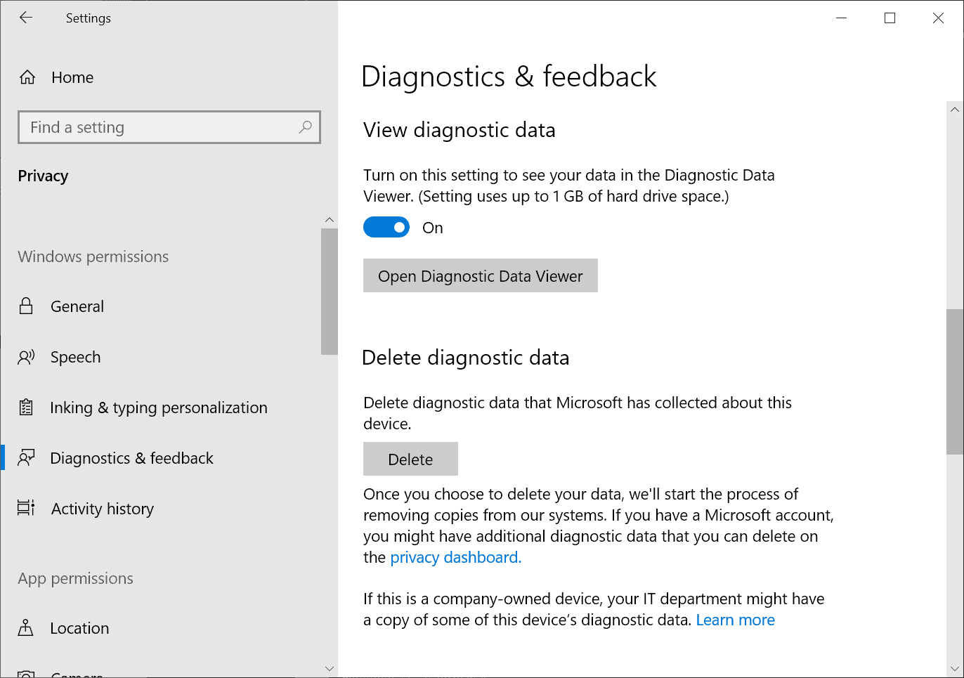windows 10 delete diagnostic data
