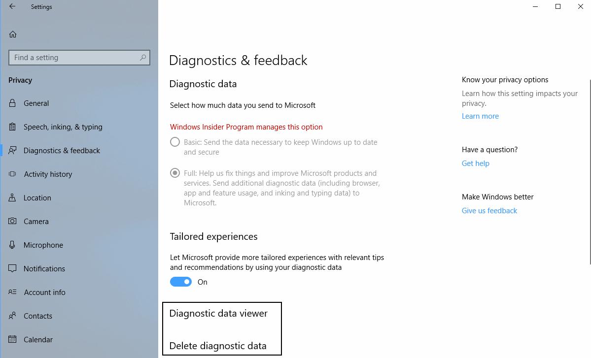 windows 10 view delete diagnostic data