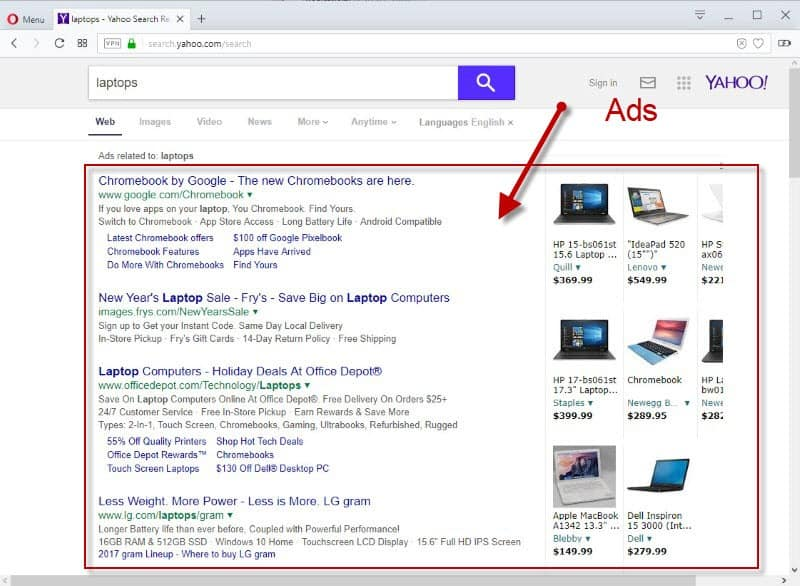Yahoo Search becomes unusable because of ads
