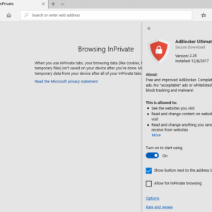 edge inprivate browsing extensions