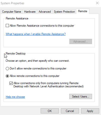 enable remote desktop windows pcs
