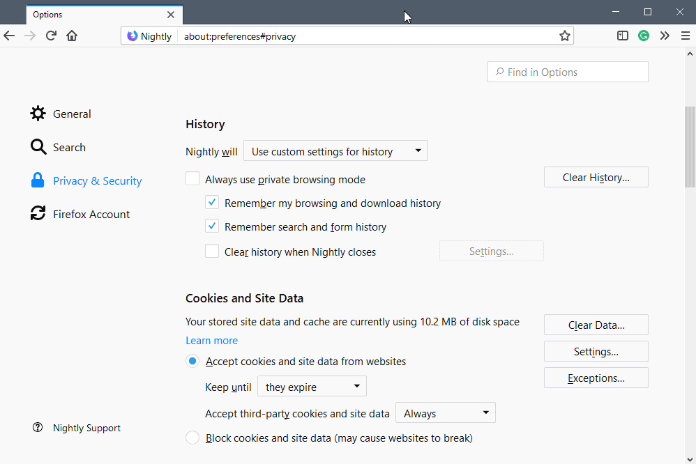 firefox 60 cookie management