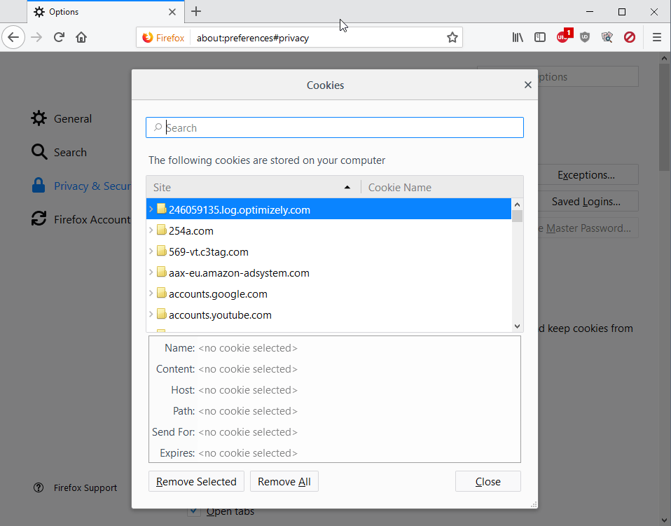 firefox cookies management