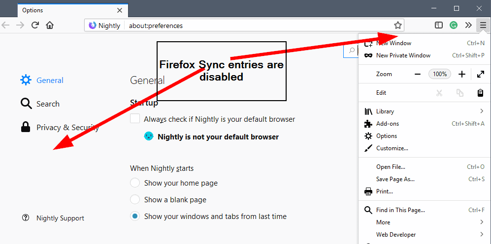 firefox sync disabled