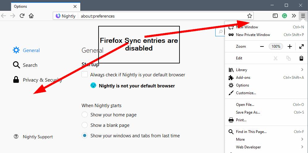 Firefox 60: Disable Firefox Sync integration - gHacks Tech News