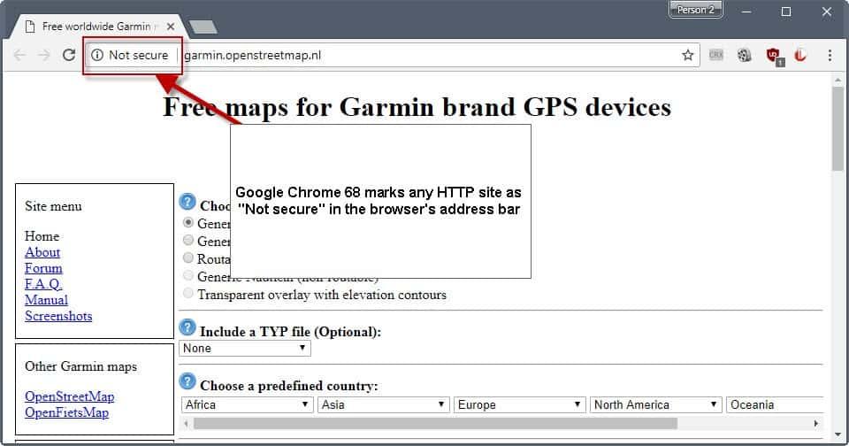 google chrome 68 not secure http