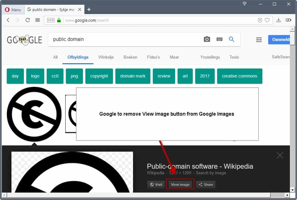 google may remove view image button on google images