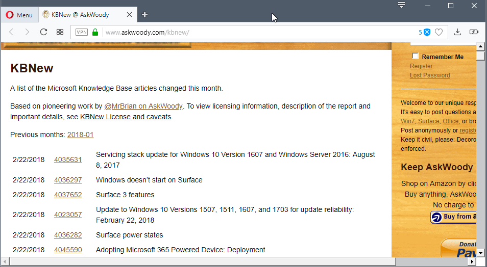 Chronological list of all updated Microsoft KB support articles