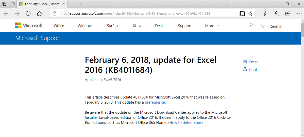 microsoft office 2016 february 2018 updates
