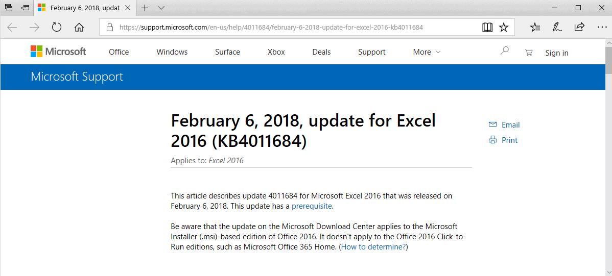 microsoft office 2016 february 2018 updates