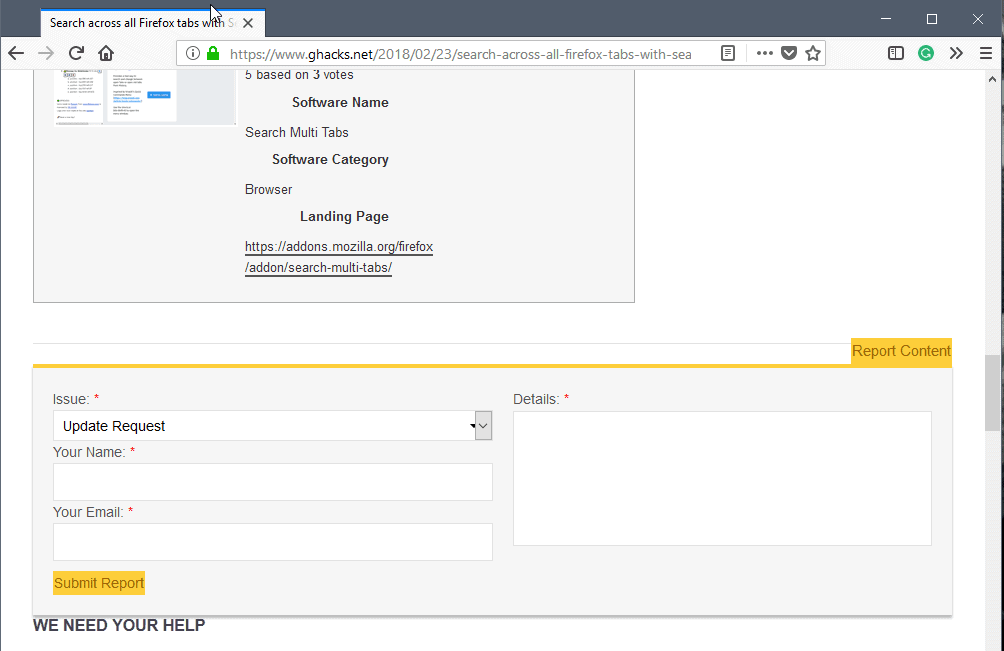 You can now report content on Ghacks