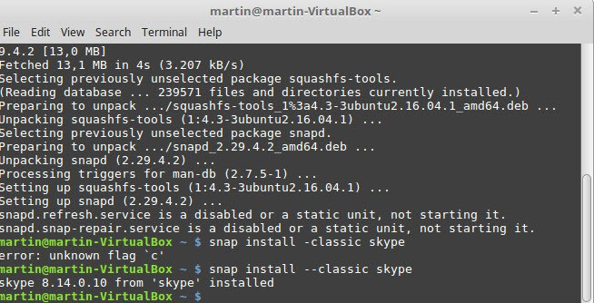 skype snap install linux