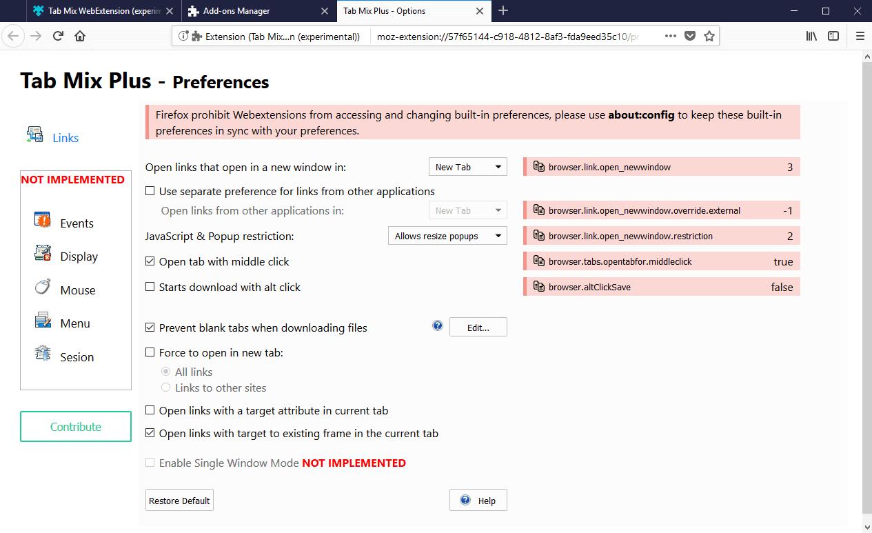 Tab Mix Plus WebExtension Development Build is out