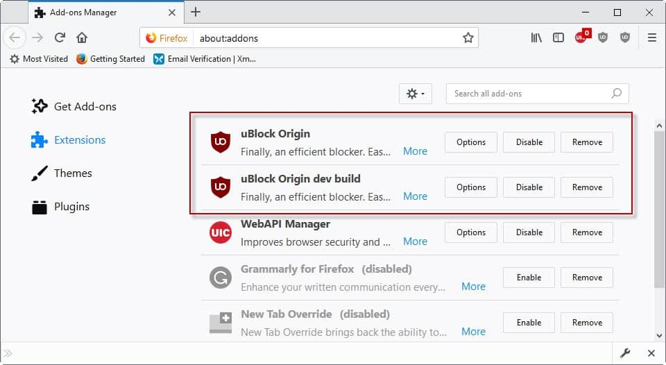 ublock origin dev build firefox