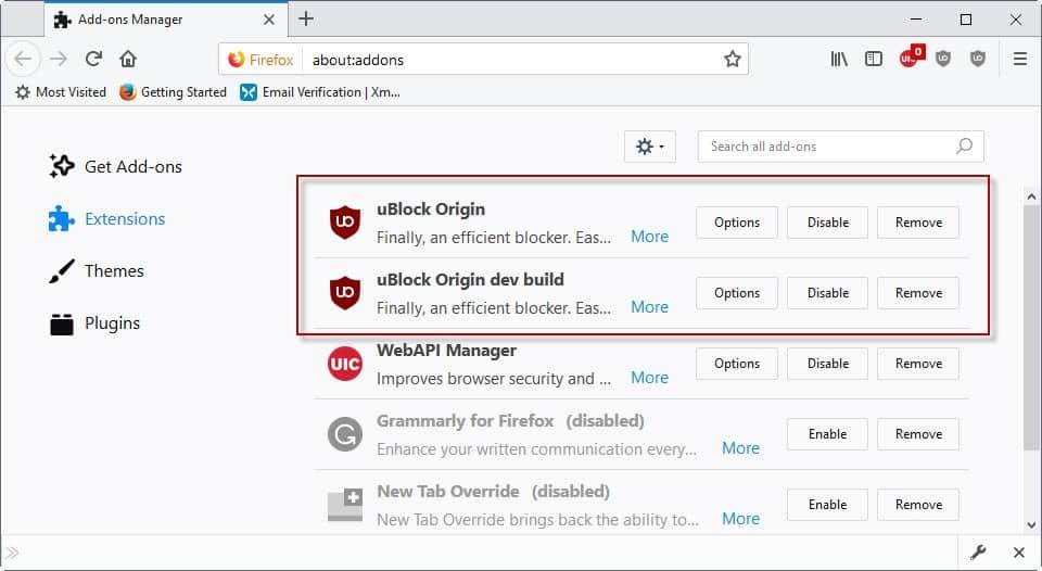 ublock origin dev build firefox