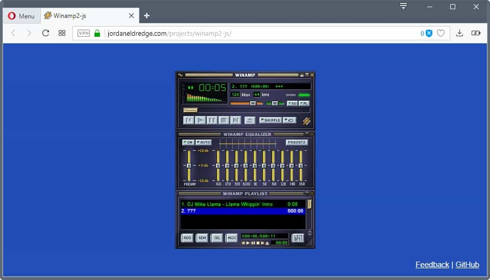 Winamp2-js is a web-based version of audio player Winamp