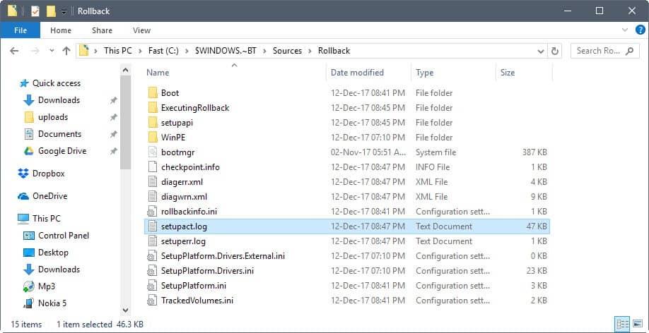 windows 10 upgrade log