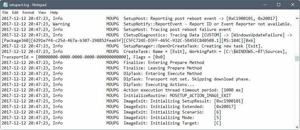 windows upgrade logs