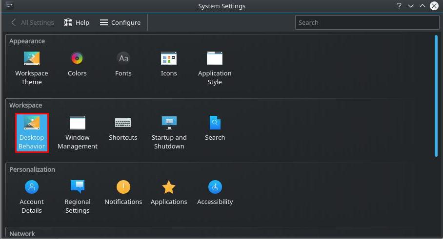 Desktop Behavior KDE