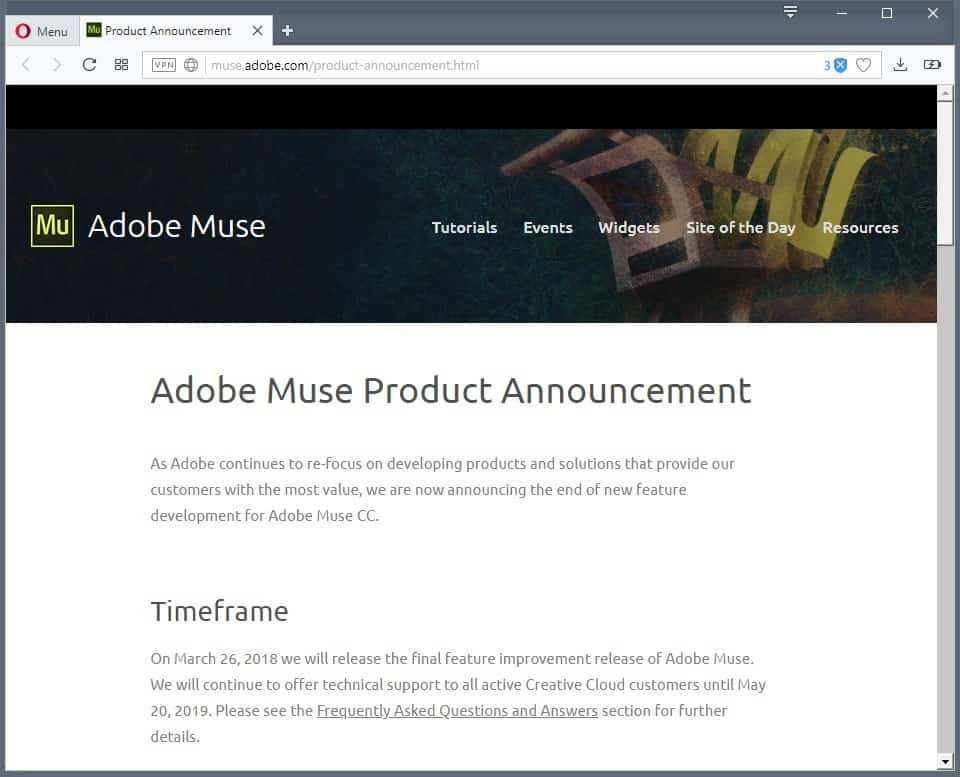 Adobe announces end of Adobe Muse and Business Catalyst