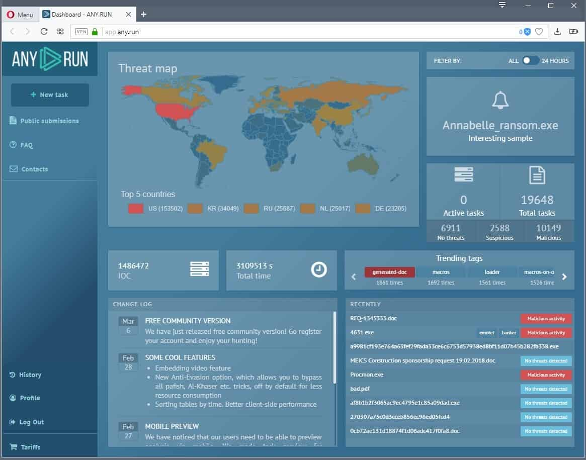 Interactive Malware Analysis Tool Any.Run launches
