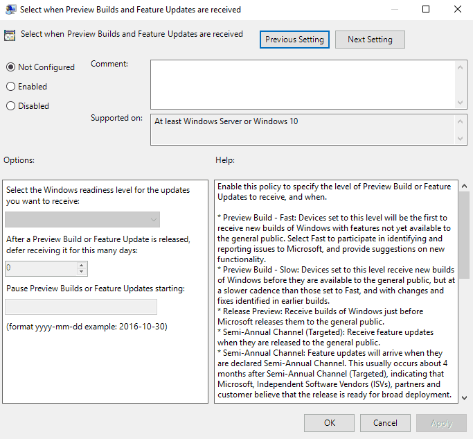 defer windows 10 feature updates group policy