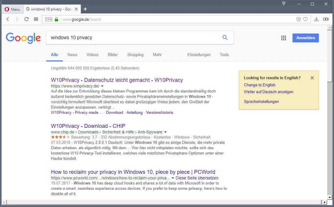google search change language