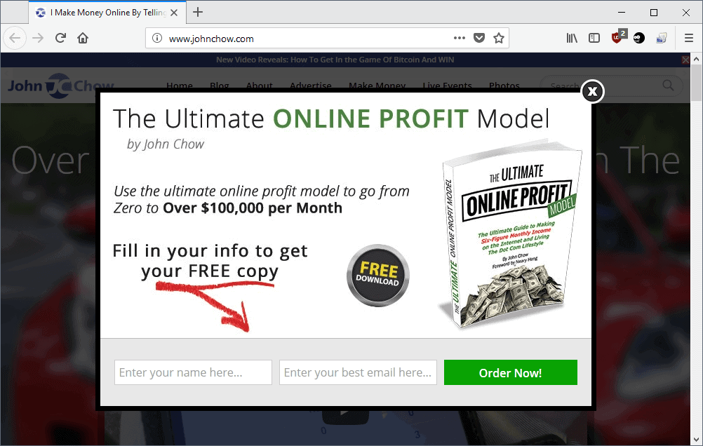 in-page popup
