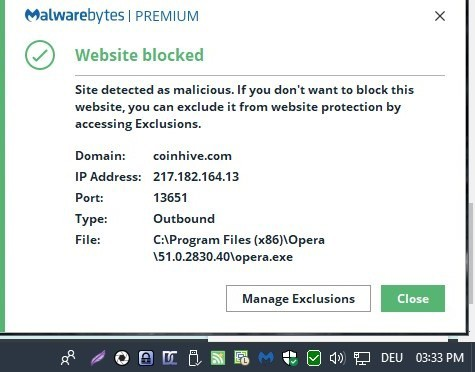 malwarebytes website blocked notification