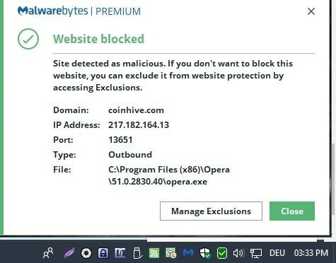 malwarebytes website blocked notification